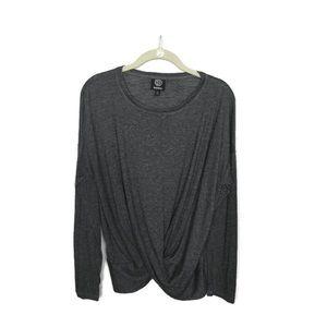 Bobeau Gray Long Sleeve Top Twist Front Sz L